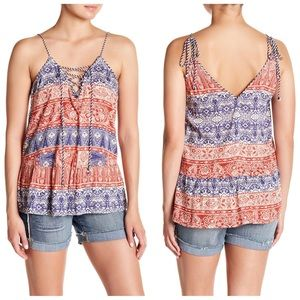 NWT Jessica Simpson Ceri Print Lace Up Tank Small